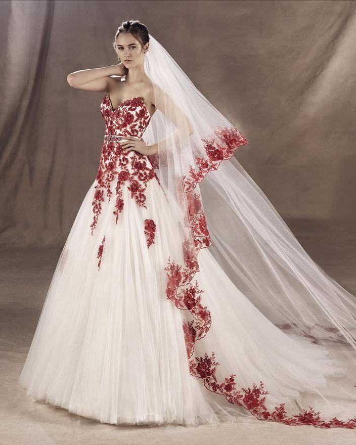 4c4ed9dafd Vestidos de novia blanco con detalles en rojo - Vestidos elegantes ...